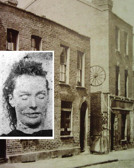 Berners Street where Lizzie Stride (inset) was murdered... but it's not Cable Street where Jack the