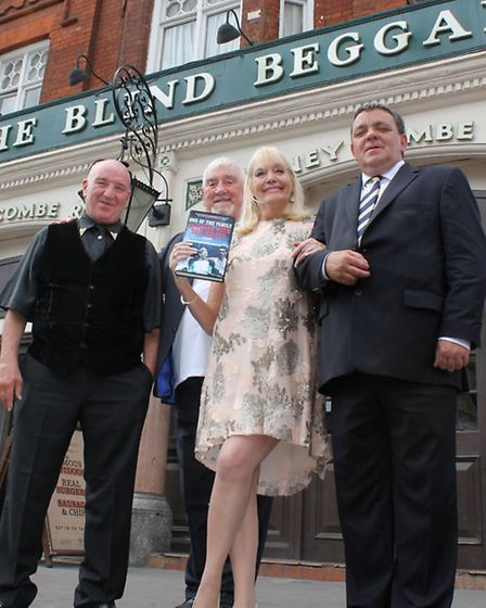 Maureen with Kray associates Dave Courtney (far left), Chris Lambrianou and Steve Tully outside the