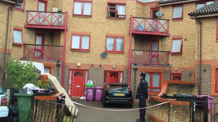 House at end of Huddleston Close where stabbing of two children and pensioner of 79 took place. The