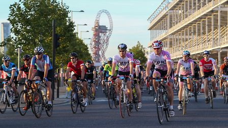 Riders starting London-Surrey 100 at Olympic Park in Stratford [photo: Jed Leicester]