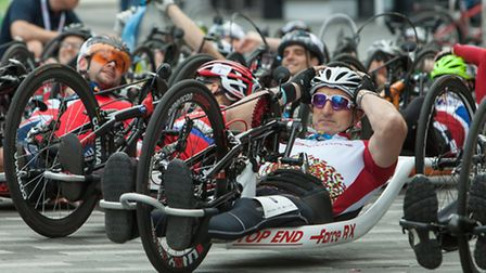 Relax... rider prepares for Handcycle Classic start yesterday [photo: Dillon Bryden]