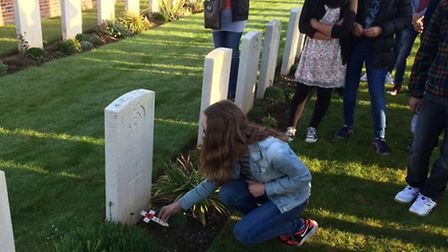 EmmaMorris at grave of her great uncle