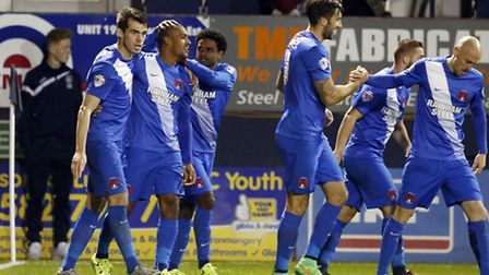 Leyton Orient players celebrate after Jay Simpson's equaliser at Luton Town (pic: Simon O'Connor).