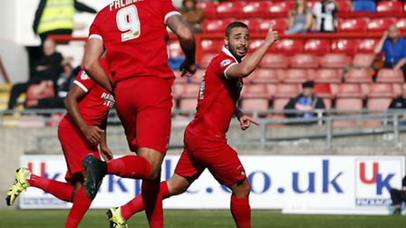 Leyton Orient midfielder Sammy Moore celebrates scoring his first goal for the club against Notts Co
