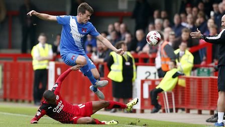 Leyton Orient's John Marquis in action for his new club for the first time at Crawley (pic: Simon O'