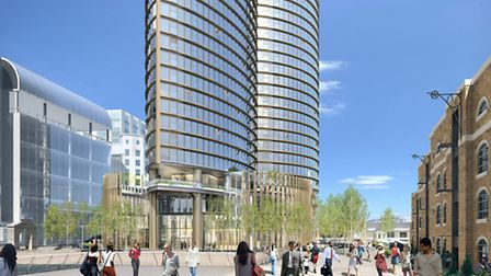 Proposal at Isle of Dogs' West India Quay, view looking south-west