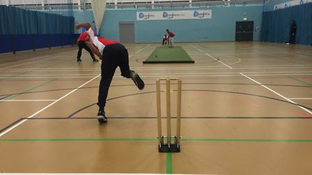 Action from the first week of the UEL Essex CCCB Chance to Shine indoor cricket league