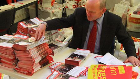 Biggs piles up the leaflets ready to fight the 2015 poll to be mayor