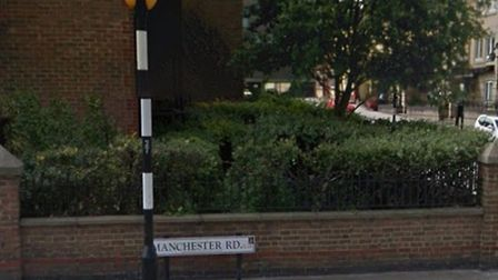Manchester Road, the Isle of Dogs, where a 21-year-old man was stabbed on Saturday morning. Picture: