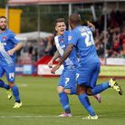 Leyton Orient players celebrate after Jay Simpson scores again (pic: Simon O'Connor).
