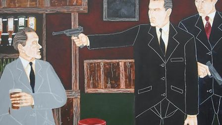 1967 Blind Begger killing of George Cornell by Ronnie Kray [portayed by artist Joe Machine]
