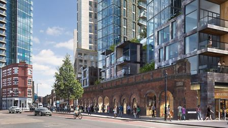 Proposed Bishopsgate goodsyard scheme as it would appear from Shoreditch