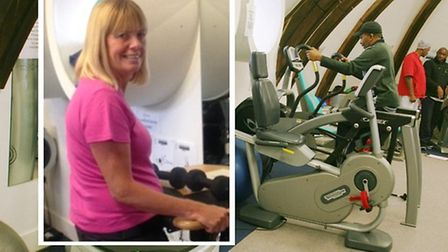 On the treadmill... Jocelyn Lane [inset] at Bow Ability therapy gym