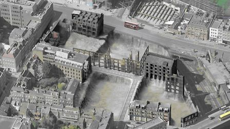 Aerial view of extent of buildings that could be demolished at Norton Folgate
