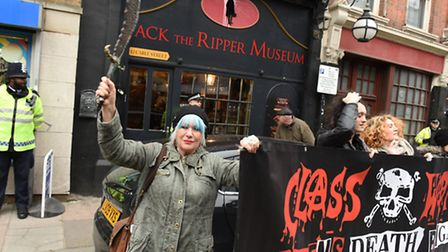 Triumphant Jane Nicholl and protesters take 'revenge on Jack the Ripper' outside controvercial touri