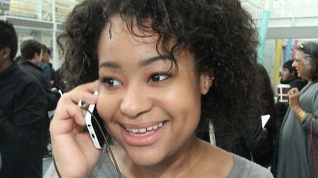 Mia Allen, 15, on phone telling mum she's got two As and five Bs GCSEs, at Bethnal Green's Swanlea S