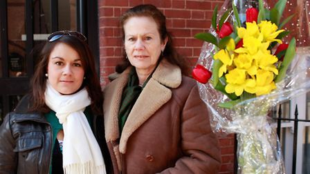 Mark Blanco's sister Emma (left) and mother Sheila outside Fieldgate Mansions where he fell