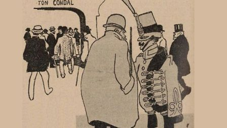 Satirical cartoon that caused a storm in 1905: - Whats the occasion? Why are there so many people