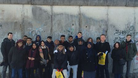 Morpeth pupils 'lined up' against the Berlin Wall