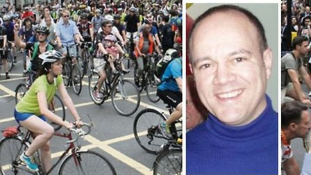 Cyclist Alan Neve from Poplar (inset) and protest at Holborn after he was killed [Images: Evo Lucas]