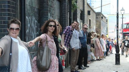 'Hands on' protest as campaigners link up to encircle Norton Folgate in July 2015