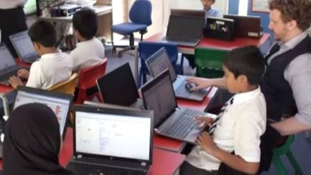 Children at another East End school, Thomas Buxton, learning computer coding