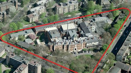 Aerial view of four-acre former London Chest Hospital site at Bethnal Green
