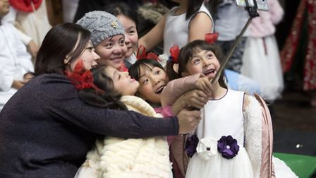 Youngsters take a selfie at York Hall's Language Day festival [photos: Isabel Infantes]