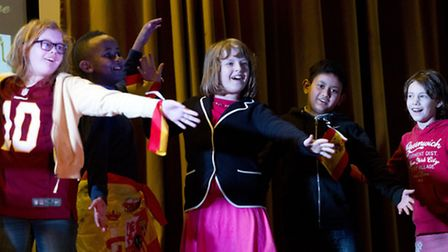 Pupils from Bethnal Green's Columbia Primary perform at International Language Day