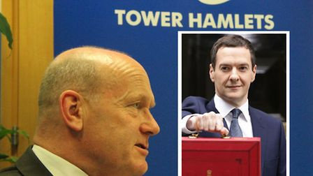 Mayor Biggs blames Chancellor George Osborne (inset) for 4pc council tax rise in his Tower Hamlets b