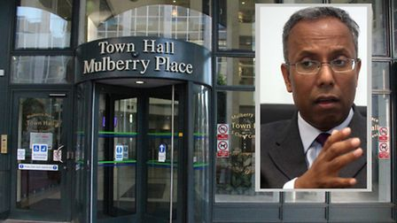 Ex-mayor Lutfur Rahman (inset)... once in power at Tower Hamlets Town Hall, now facing Solicitors Tr