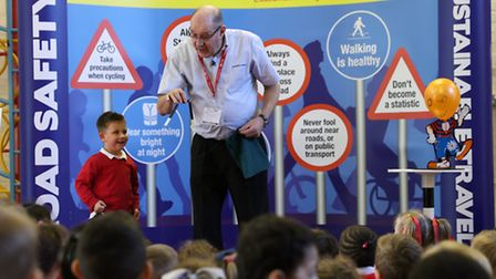 Road Safety magic show at St Saviour's Primary in Poplar [photos: Kois Miah]