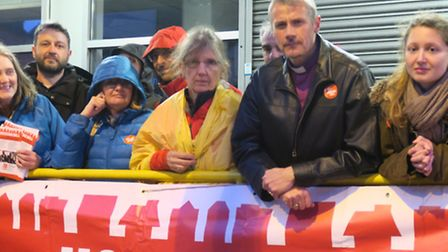 Bishop of Stepney joins Kill the Bill 'sleep out' protest rally in Bethnal Green with NHS activist D