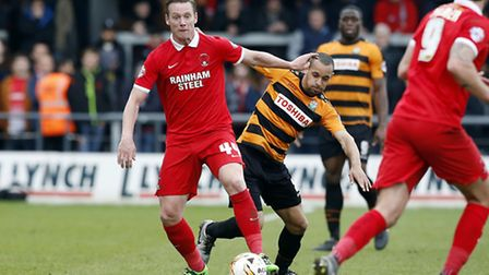 Leyton Orient player-manager Kevin Nolan in action against Barnet (pic: Simon O'Connor).