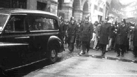 Police accompany Altab Ali's funeral in May, 1978 [archive photo]