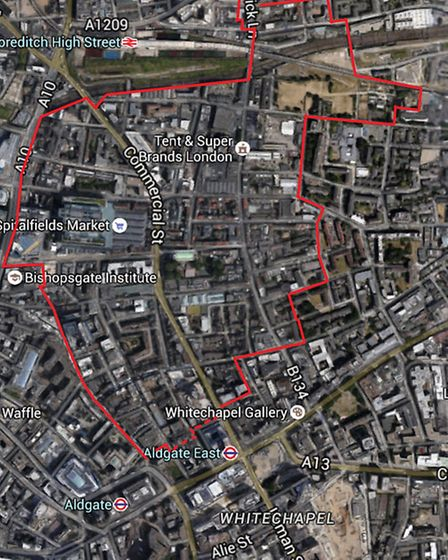 Aproximate boundary of new Spitalfields planning forum [Google aerial map]