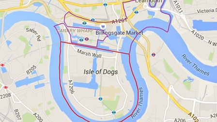RED boundary is reduced area of Isle of Dogs forum, MAUVE boundary is Blackwall and Westferry being