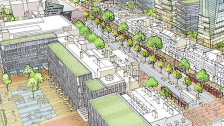 Future look for Whitechapel with former Royal London Hospital (bottom left) to be Tower Hamlets' new