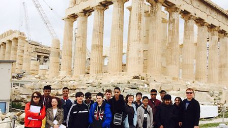 Morpeth pupils at the Acropolis in Athens