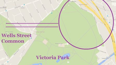 Where stone circle is thought to be located under Victoria Park with processional approach from Well
