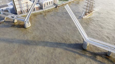 What proposed Thames bridge at Canary Wharf would look like from the air, letting shipping through