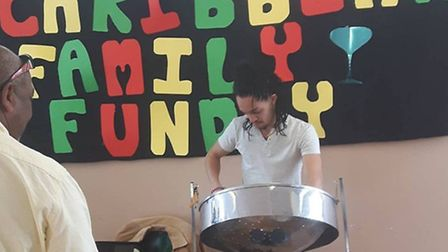 Steel drum performer at Ebony Ceasar's Sunday Carribean fun day at the Isle of Dogs