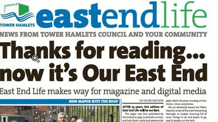 Front pager of East End Life's last edition