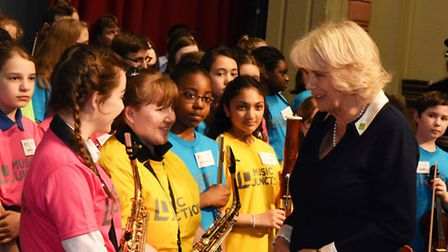Duchess of Cornwall meets children rehearsing at People's Palace in Mile End [photos: Ken Mears]