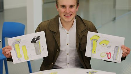 UEL design student Charles Caldron with his 'skier rescue' ideas