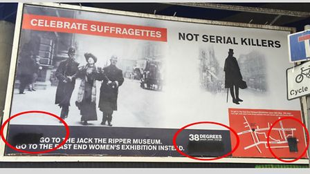 Vandalised with black paint... Suffragette billboard in Cable Street, opposite Jack the Ripper museu