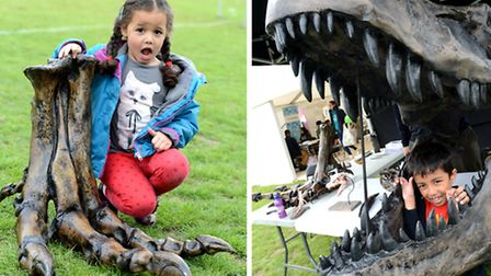 Isabella Frances, 4, at the foot of T Rex, while Ibrahim Hoque, 5, finds himslef in the dinosaur's j