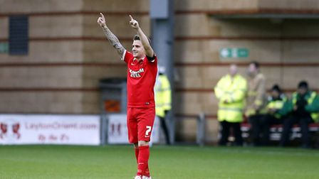 Leyton Orient's Dean Cox celebrates after finding the net (pic: Simon O'Connor).