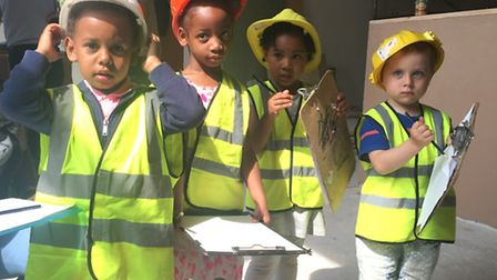 Bob the Builder's chums... toddlers at Barnardo's Bromley-by-Bow nursery