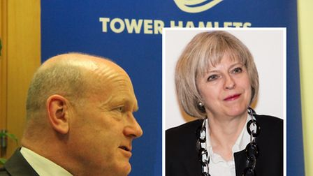 Tower Hamlets Mayor John Biggs criticises new PM Theresa May (inset) who he says forced cuts to poli